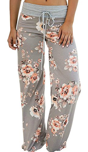 Elsofer Women's Pajama Lounge Pants Floral Print Comfy Casual Stretch Palazzo Drawstring Pj Bottoms Pants Wide Leg (Tag XL (US10), Light Grey)
