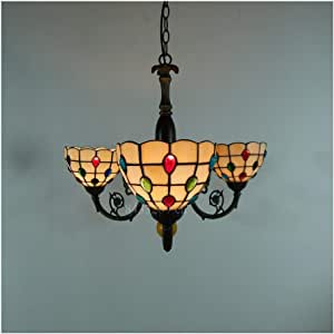 Light Fixtures Stained Glass Pendant Light for Art Decoration, Handmade Three Heads Pendant Lamp for Parlor,Multicolor