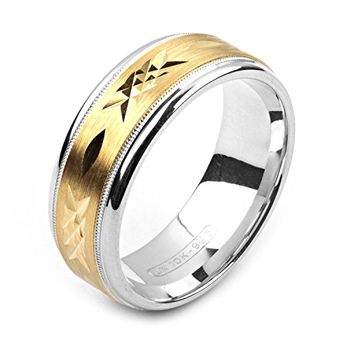 Alain Raphael 2 Tone Sterling Silver and 10k Yellow Gold 8 Millimeters Wide Wedding Band (Yellow White Gold Wedding Rings)