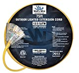 75-ft 12/3 Heavy Duty 3-Outlet Lighted SJTW Indoor/Outdoor Extension Cord by Watt's Wire - Yellow 75' 12-Gauge Grounded 15-Amp Three-Prong Power-Cord (75 foot 12-Awg)