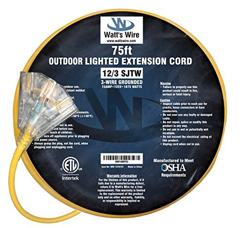 - 75-ft 12/3 Heavy Duty 3-Outlet Lighted SJTW Indoor/Outdoor Extension Cord by Watt's Wire - Yellow 75' 12-Gauge Grounded 15-Amp Three-Prong Power-Cord (75 foot 12-Awg)
