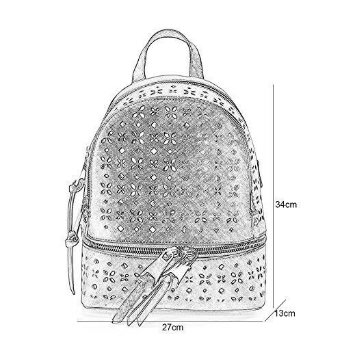 Mochila femenina para mujer Hollow Shoulder Bag Versión Coreana Femenina De La Marea 2017 Nueva Pu Impermeable Moda Salvaje Wild College Wind Backpack (Large) (White)