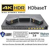 8x8 HDR 18GBPS HDbaseT 4K HDMI Matrix SWITCHER 6 PoC Receivers HDMI 2.0a 2.0 CAT6 CAT5e HDMI HDCP2.2 Routing SPDIF Audio CONTROL4 Savant Home Automation