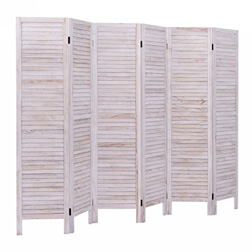 (Giantex 6 Panel Screen Room Divider Wood Folding Oriental Freestanding Tall Partition Privacy Screen Room Divider (Nutural))