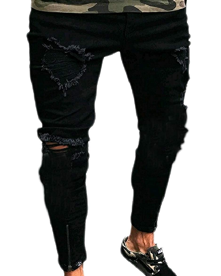 SportsX Mens Ripped Destroyed Mid Waist Zip Fashionable Stretch Fitted Trouser Jean