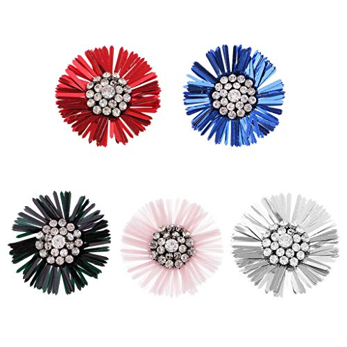 5X Flower Crystal Sequins Sewing Applique for Stage