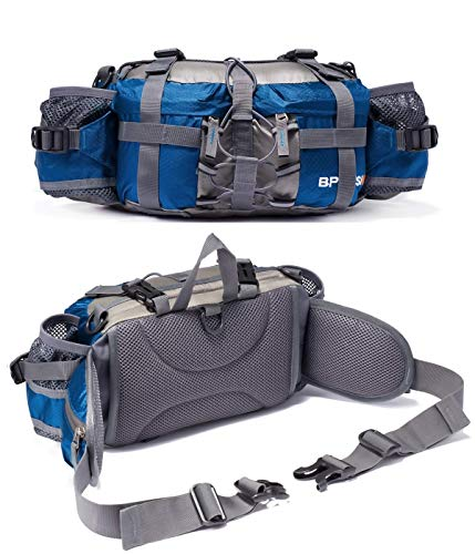 Outdoor Fanny Pack Hiking Camping Biking Waterproof Waist Pack 2 Water Bottle Holder Sports Bag for Women and Men Blue