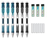 Paper Mate Clear Point Mechanical Pencil Starter Set, 0.7mm, Pack of 6 Pencils (3 Black & 3 Blue), 3 Lead Refills, and 6 Eraser Refills