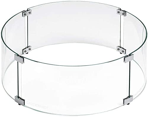 Tempered Glass Flame Guard for 25 Round Drop-in Fire Pit Pan Clear Round