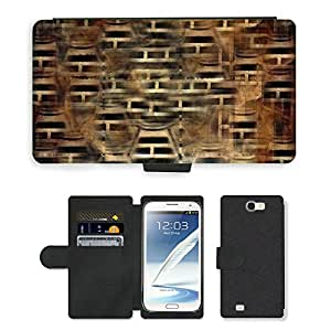 Hot Style Cell Phone Card Slot PU Leather Wallet Case // M00152508 Textures Brown Wood Texture Abstract // Samsung Galaxy Note 2 II N7100