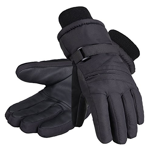 (Andorra Kids' Zippered Pocket Thinsulate Insulation Ski Snowboarding Gloves,Black,M(7-9 Years))