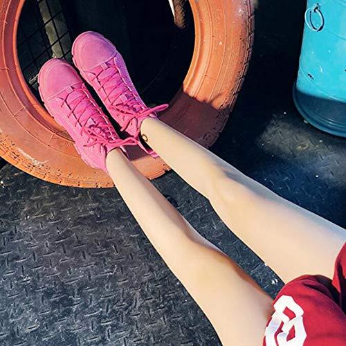 Alte Boots Womens YR Stringate Scarpe Delle Boots Modo Pink Rotonda Boots Martin Treking Escursionismo Signore Sneaker Per R Toe Tela Di Caviglia Desert nqUTw8qx0