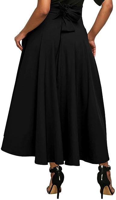 SODIAL Jupe longue plissee evasee a taille haute de couleur unie avec ceinture pour les femmes Jupe maxi fendue pour dames Jupes vintage de boheme de