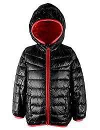 Hooded Light Weight Down Puffer Jacket Packable Coat Outwear for Boys Kids Children