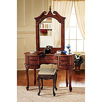 Design Toscano The Queen Anne Dressing Table and Mirror