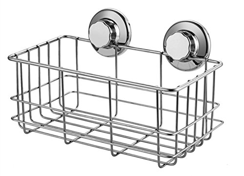 Suction Shower - SANNO Deep Bathroom Basket Shower Caddy Shelf with Suction Cups,Bath Organizer Kitchen Storage Basket for Shampoo, Conditioner, Soap- stainless steel