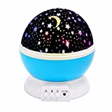 Baby Night Light,SOLMORE Romantic Rotating LED Night Lighting Lamp Moon Cosmos Sky Star Projector Lights Baby Lamp with USB Cable for Children Kids Gifts Bedroom Living Room Night Light Blue