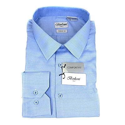 Blue Mens 100% Cotton Comfort Fit Plaid Dress Shirt