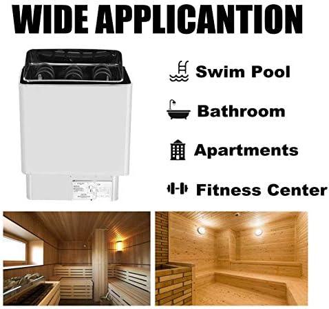6KW 220-380V R/échauffeur de Sauna en Acier Inoxydable Po/êle Contr/ôle de la temp/érature /Électrique Sauna Po/êle Spa Douche Bain Sauna pour Sauna R/échauffeur de Sauna