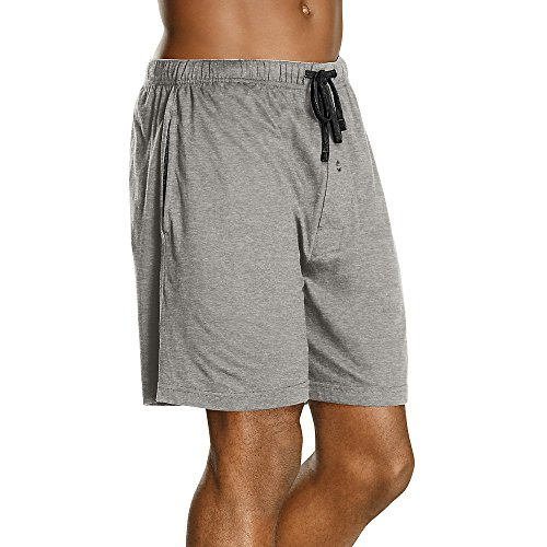 Hanes 01005-010052X Mens Jersey Lounge Drawstring Shorts With Logo Waistband Size Small, Active Grey Heather & Black, Pack - Stores Hanes