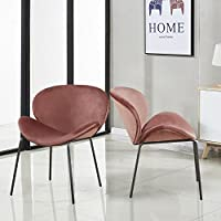 GreenForest Velvet Accent Chairs Modern Large Fabric Shell Chairs for Living Room Leisure Chairs for Bedroom Set of 2, Rose