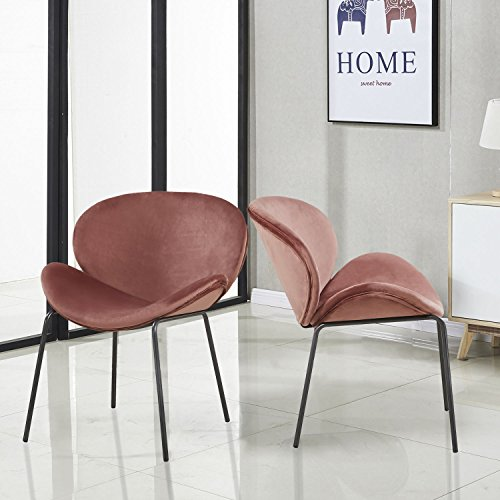 - GreenForest Velvet Accent Chairs Modern Large Fabric Shell Chairs for Living Room Leisure Chairs for Bedroom Set of 2, Rose