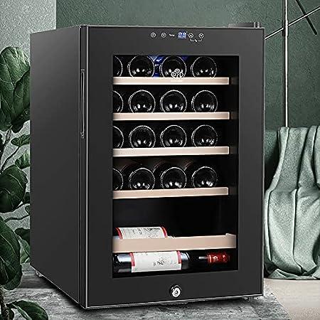 VIY Nevera vinos vinoteca de Botellas 19 Botellas Filtro Puerta Cristal Reversible Anti-UV Compresor Iluminación LED