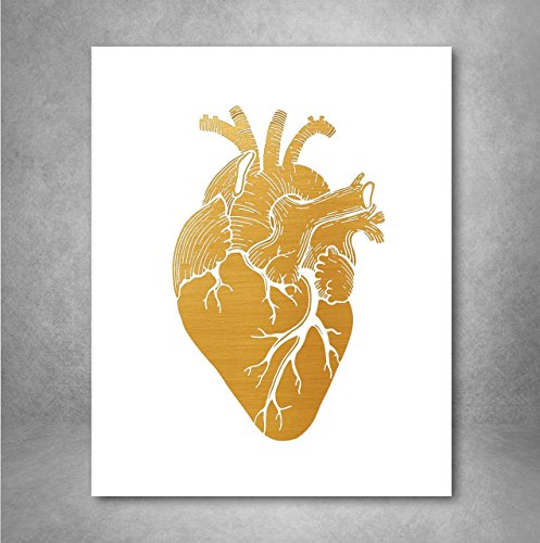 Gold Foil Art Print - Anatomical Gold Foil Heart Design 8x10 inches