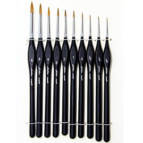 (Pure color )Professional Sable Detail Paint Brush, Value Set of 10, Miniature Brushes Keep a Fine Point & Spring, For Watercolor, Oil, Acrylic, Nail Art & Models