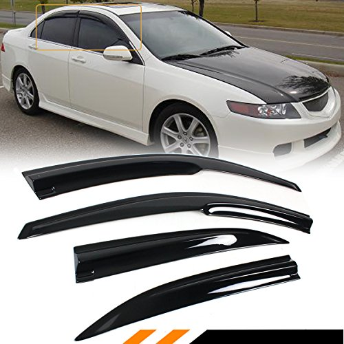 Cuztom Tuning Fits for 2004-2008 Acura TSX CL8 Euro-R JDM 3D Wavy Style Window Visor Rain Guard Deflector