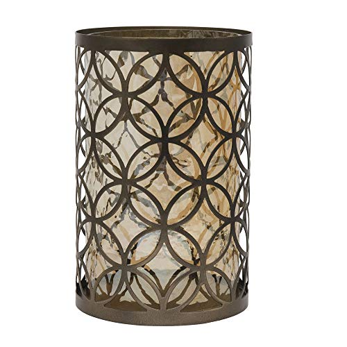 7x10 Inch Bronze Circle Pattern Metal And Glass Candle Holder ()