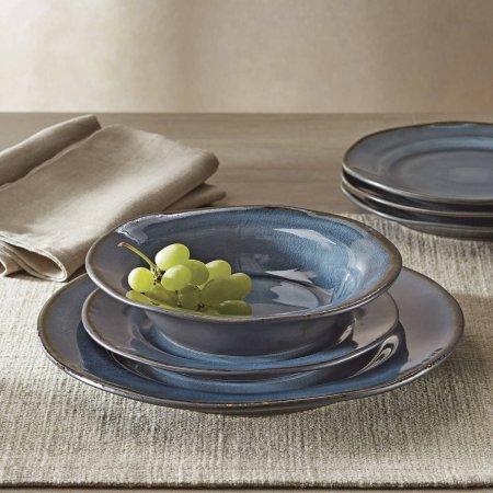 12-Piece Bramley Crackle Glaze Dinnerware Set, Blue