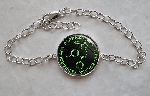 Alprazolam Molecule Sterling Silver Charm Bracelet