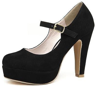 ac8981c7a28c IDIFU Women s Dressy Platform High Block Heels Faux Suede Pumps Buckle  Wedding Shoes Ankle Strap (