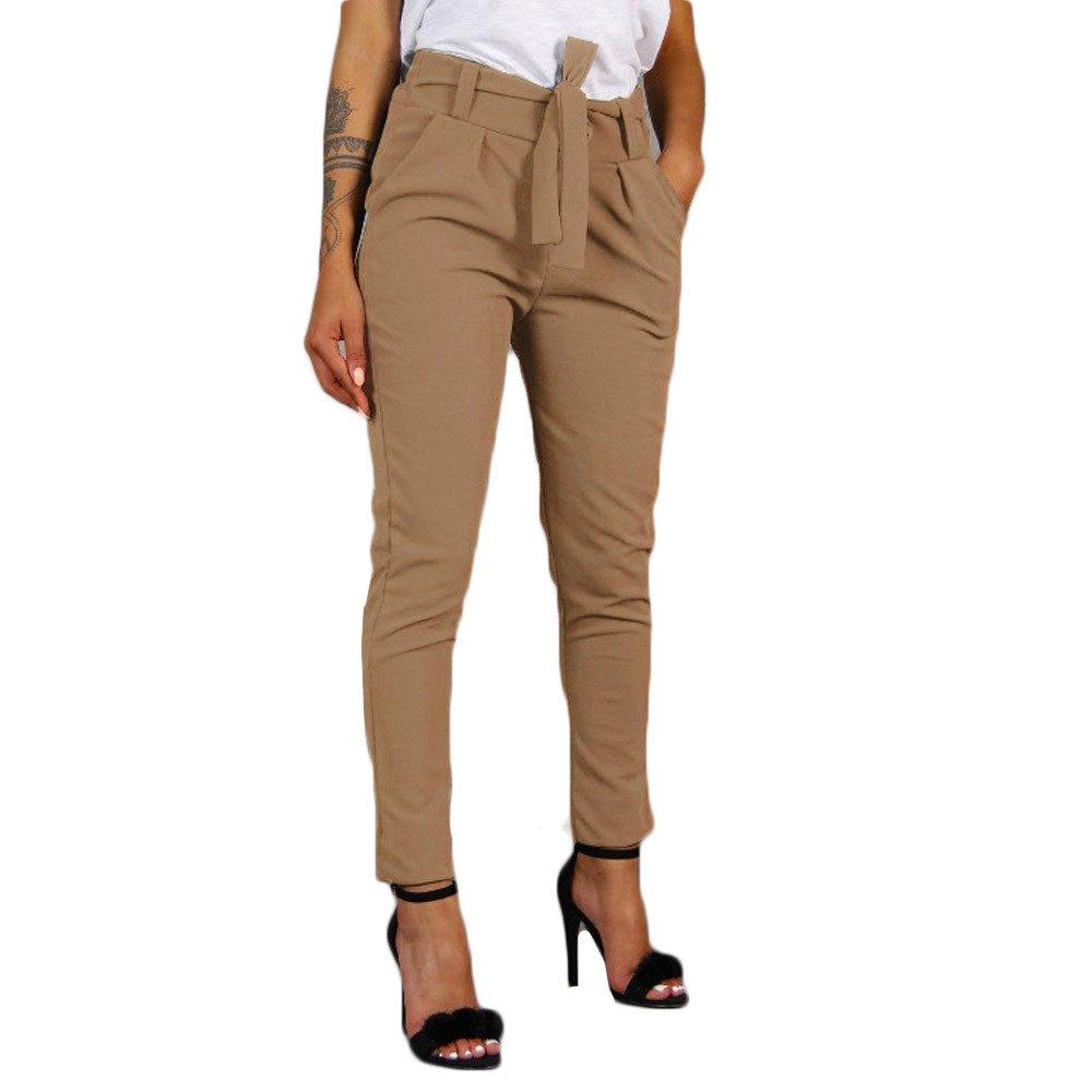 Women Sport Yoga Pants,Jchen(TM) Ladies High Waist Harem Pants Women Bandage Elastic Waist Solid Color Casual Pants (XL, Khaki)