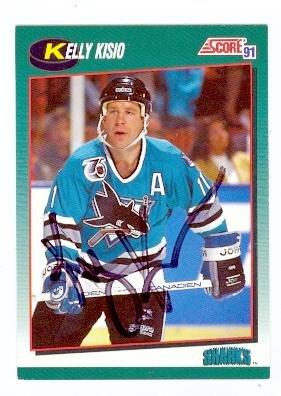 separation shoes 9615b 6050a Kelly Kisio autographed hockey card (San Jose Sharks) 1991 ...
