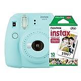 Kit Câmera Instantânea Instax Mini 9 Azul Acqua + Filme Instax Mini 10 fotos, Fujifilm