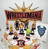 WWE Wrestling Deluxe Cake Toppers Cupcake Decorations Set of 12 with 10 Figures, WWE Tattoo, FingerRing Featuring John Cena, Alexa Bliss and Many More!