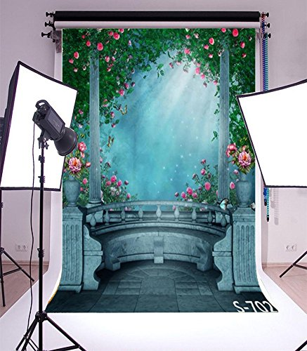 3x5ft Lfeey Vinyl Thin Backdrop,Vintage Garden with Flowers Scene Photography Background for Photo Studio (Garden Backdrop)