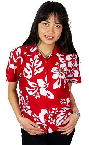 King Kameha Funky Hawaiian Blouse Shirt, Shortsleeve, Hibiscus, Ferrarired, XL