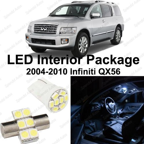 Splendid Autos Xenon WHITE LED Infiniti QX56 Interior Package Deal 2004 - 2010 (11 Pieces)