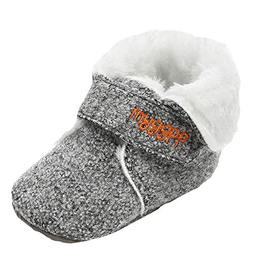 Baby Girl Boys Snow Boots Cotton Shoes Fashion Toddler First Walkers FurLined Slipper Shoe (0-6 Months, Gray)