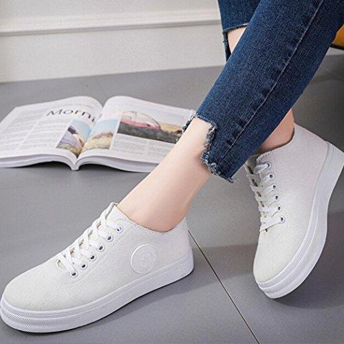 hunpta Women Canvas Flats Shoes Slip On Comfort Shoes Flat Shoes White PZ2lb6Tdv