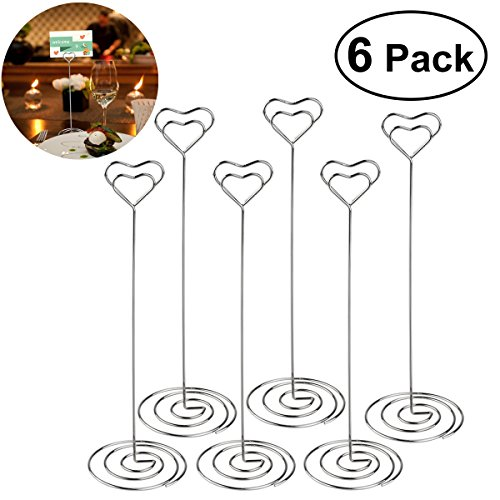 - ULTNICE 6pcs Heart Swirl Table Number Photo Holder Stands for Weddings Party Gathering
