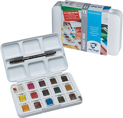 Three Burnt Light Umber (Van Gogh Pack Of 12 Watercolors + 3 Pocket Box + Brush # 6)