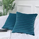 featured product Hangood Soft Velvet Decorative Throw Pillow Covers Cases Cushion Covers 18x18 inch Stripe 45cm x 45cm Set of 2pcs Deep Teal