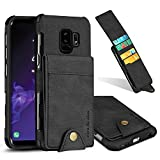 Galaxy S9 Plus Wallet Case, 5 ID Credit Card Slot, Button Flip-Out Leather Drop Protection Case - Black