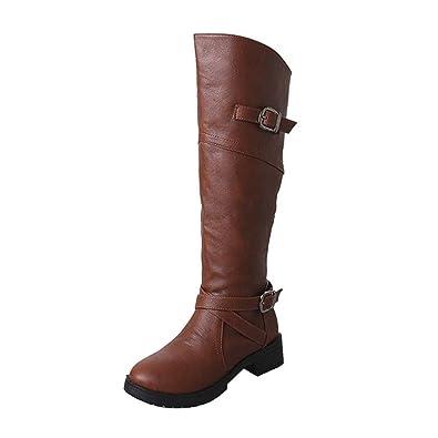 Femmes Cuir Knight Buckle Femmes Faux Bottes Chaussures Martin Plat marron 4sgk7PA