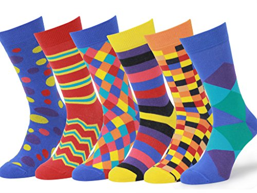 (Easton Marlowe Mens - 6 PACK - Colorful Patterned Dress socks - 6pk #4, mixed - bright colors, 39-42 EU shoe size )