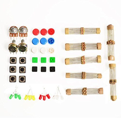 [Quentacy® 1 Sets Handy Portable Resistor Kit for Arduino Starter Kit UNO R3 LED Potentiometer Tact Switch Pin Header] (Switch Potentiometer)